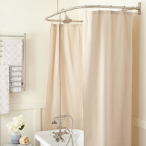 """Signature Hardware English Hand Shower Conversion Kit with Brass Shower Head, Porcelain Lever Handles and 54"""" x 27"""" D Curtain Ring - Roller Ball Ring Included"""