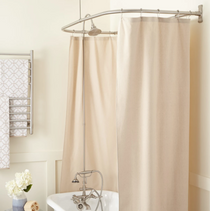 """Signature Hardware English Hand Shower Conversion Kit with Brass Shower Head, Brass Lever Handles and 54"""" x 27"""" D Curtain Ring - Roller Ball Ring Included"""