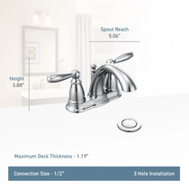 Moen Brantford Double Handle Centerset Bathroom Faucet - Pop-Up Drain Assembly and Valve Included