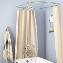 """Signature Hardware 6"""" Rim Mount Hand Shower Conversion Kit with Porcelain Shower Head, Vintage Cross Handles and 60"""" x 28"""" Shower Curtain Ring"""