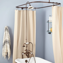 """Signature Hardware 6"""" Rim Mount Hand Shower Conversion Kit with Porcelain Shower Head, Porcelain Lever Handles and 60"""" x 28"""" Shower Curtain Ring"""