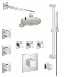 Grohe Eurocube Thermostatic Shower System with Multi-Function Shower Head, Handshower, Slide Bar, Bodysprays, and Volume Controls - All Valves Included in Chrome