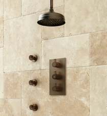 "Signature Hardware Isola Thermostatic Shower System with 10"" Rainfall Shower- 3 Sprays"