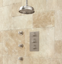 """Signature Hardware Isola Thermostatic Shower System with 10"""" Rainfall Shower- 3 Sprays"""