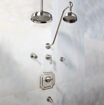 "Signature Hardware Vintage Shower System - 8"" Rain Shower - Body Sprays - Lever Handles"