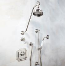 Signature Hardware Vintage Pressure Balance Shower System - Wall Shower & Hand Shower - Lever Handle
