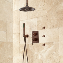 "Signature Hardware Trimble 12"" Rainfall Shower System with Hand Shower, 3 Body Sprays"