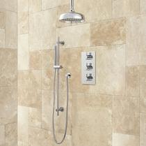 "Signature Hardware Isola Thermostatic Shower System - 12"" Rain Shower - Modern Hand Shower"