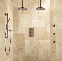 "Signature Hardware Labelle Thermostatic Dual Shower System - 12"" Rainfall Shower Heads"