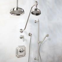 "Signature Hardware Vintage Shower System - Luxury Hand Shower - 14"" Rainfall Showerhead"