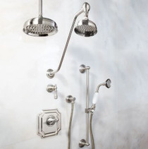"Signature Hardware Vintage Pressure Balance Shower System with Hand Shower - 14"" Rain Shower"