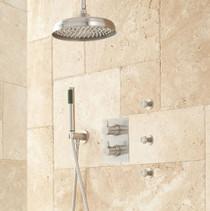 "Signature Hardware Hinson 14"" Rainfall Shower System - Hand Shower and 3 Body Sprays"