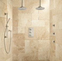 """Signature Hardware Labelle Thermostatic Dual Shower System - 10"""" Rainfall Shower Heads"""