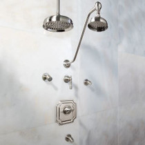 "Signature Hardware Vintage Shower System - 14"" Rain Shower - Body Sprays - Lever Handles"