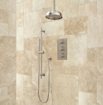 "Signature Hardware Isola Thermostatic Shower System - 14"" Rain Shower - Modern Hand Shower"