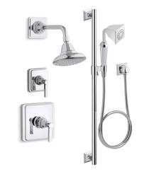 Kohler Pinstripe Rite-Temp Pressure Balanced Shower System with Shower Head and Hand Shower