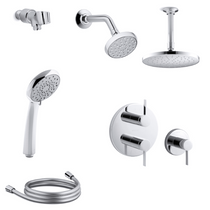 Kohler Awaken Thermostatic Shower System with Single Function B90 Shower Head, Hand Shower, Rain Head, Stacked Valve Trims
