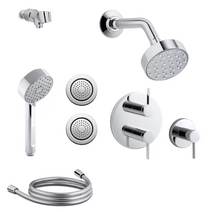 Kohler Awaken Thermostatic Eco Shower System with Single Function G90 Shower Head, Hand Shower, Body Sprays, Stacked Valve Trims