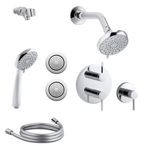 Kohler Awaken Thermostatic Eco Shower System with Multi Function B90 Shower Head, Hand Shower, Body Sprays, Stacked Valve Trims