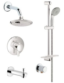 Grohe Europlus Thermostatic Shower System with Rain Shower Head, Handshower, Slide Bar, Wall Supply, Tub Spout, Integrated Diverter and Volume Control - Rough-In Valve Included