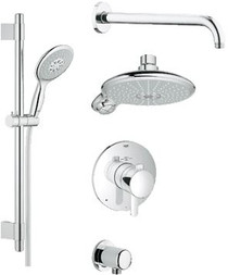 Grohe GrohFlex Thermostatic Shower System - Includes Trim, Shower Head, Hand Shower, Shower Arm, Hose and Wall Supply