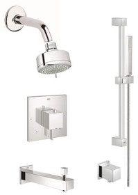 Grohe Eurocube Pressure Balanced Shower System with Multi-Function Shower Head, Handshower, Slide Bar, Wall Supply, Tub Spout, Integrated Diverter and Volume Control - Rough-In Valve Included