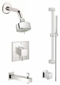 Grohe Eurocube Pressure Balanced Shower System with Multi-Function Shower Head, Handshower, Slide Bar, Wall Supply, Tub Spout, Integrated Diverter and Volume Control - Rough-In Valve Included in Chrome