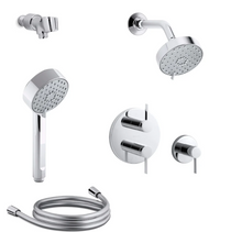 Kohler Awaken Thermostatic Eco Shower System with Multi Function G110 Shower Head, Hand Shower, Stacked Valve Trims