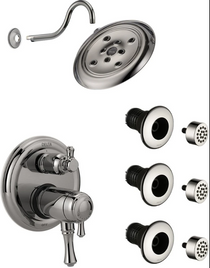 Delta Cassidy Thermostatic Shower System with Shower Head, Shower Arm, Bodysprays, Valve Trim and MultiChoice Rough-In