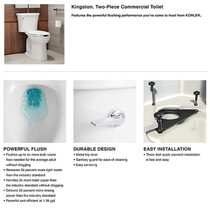 Kohler Kingston 1.28 GPF Two Piece Elongated Chair Height Toilet with Right Hand Lever - Less Seat