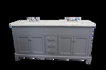 "Naples 62"" Gray Double Sink Bathroom Vanity"