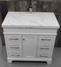Naples 36 inch  White Bathroom Vanity Centered Sink