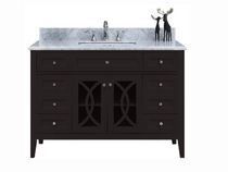 "Casa 60"" Espresso Single Sink Bathroom Vanity with Stone Top"