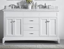 """Naples 62"""" White Double Sink Bathroom Vanity"""