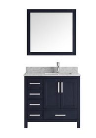 "Hollywood 42"" Navy Off-set Right Bathroom Vanity"