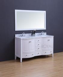 """Destiny 60"""" White Double Sink Bathroom Vanity"""