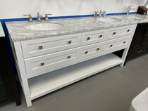 "BLOWOUT SALE! Island 72"" Freestanding White Double Sink Bathroom Vanity"