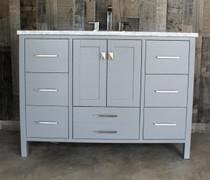 Maria 48 inch Solid Wood Gray Bathroom Vanity with Carrera Marble Top
