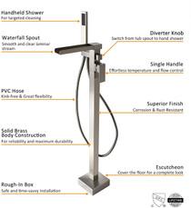 Royal Costa Waterfall Freestanding Tub Faucet in Brushed Nickel