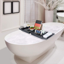 Royal Wooden Bamboo Bathtub Caddy Tray with Extending Sides in Black