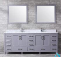 """Key West 84"""" Double Bath Vanity in Grey w/ Quartz Top & White Ceramic Sinks"""