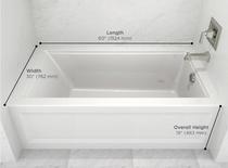 American Standard: Town Square S Collection Town Square S 60x30-inch Bathtub - Right Drain