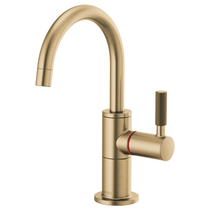 Brizo LITZE® Instant Hot Faucet with Arc Spout and Knurled Handle in Luxe Gold