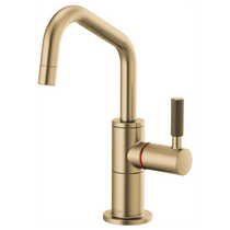 Brizo LITZE® Instant Hot Faucet with Angled Spout and Knurled Handle in Luxe Gold