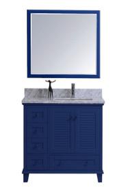 Keyes 40 inch Navy Blue Offset Left Sink Bathroom Vanity