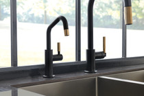 Brizo LITZE® Beverage Faucet with Angled Spout and Knurled Handle in Matte Black / Luxe Gold