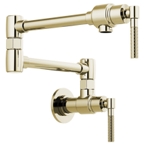 Brizo LITZE® Litze Wall Mount Pot Filler with Knurled Handle in Polished Nickel