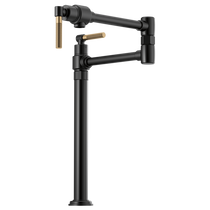Brizo LITZE® Litze Deck Mount Pot Filler with Knurled Handle in Matte Black / Luxe Gold