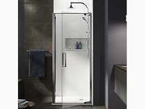 "Kohler Torsion®Pivot shower door with return panel, 77"" H x 33-7/8 - 35-7/16"" W, with 5/16"""