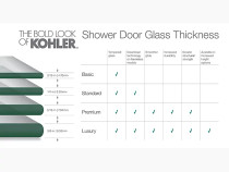 """Kohler Finial® Pivot shower door, 72-1/4"""" H x 45-1/4 - 47-3/4"""" W, with 1/2"""" in Crystal Clear glass with Brushed Nickel frame"""
